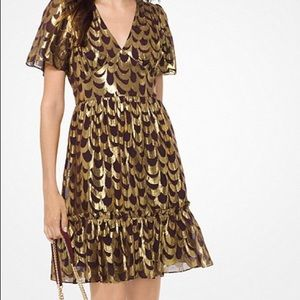 MK silk scalloped dress NWT